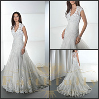 demetrios wedding dress - A Line Wedding Dresses V Neck Lace Tulle Court Train Beaded Appliques Pleated Ruffle Demetrios