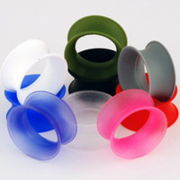 Wholesale free freight body jewelry silicone flare flesh tunnel ear plug mix size colors