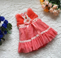2-6 years Girl Winter Children's Baby Girl's waistcoat lace flower dress thicken fleeces jumper skirt bowknot(4pcs lot)