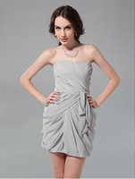 Wholesale 2013 New Sexy Ruffles sleeveless grey sheath Prom Cocktail Dress Evening Dresses C040
