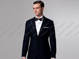 Wholesale Navy blue Groom tuxedos complete designer Best man suit jacket pants girdle bow tie ok