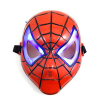 spiderman The Valentine Day  Cosplay Glowing Spiderman Spider Man Mask With Blue LED Eyes Make Up Toy For Kids Boys