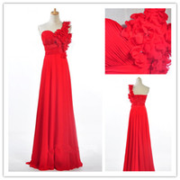 Wholesale Actual Flower Beads Ruffle One Shoulder Coral Royal Blue Red Chiffon Bridesmaid Dresses Column Floor Length Evening Gown B15