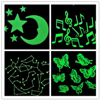Wholesale 500 Sets NEW Glow in the Dark Moon Stars Butterfly Constellation Music Wall Bed Stickers