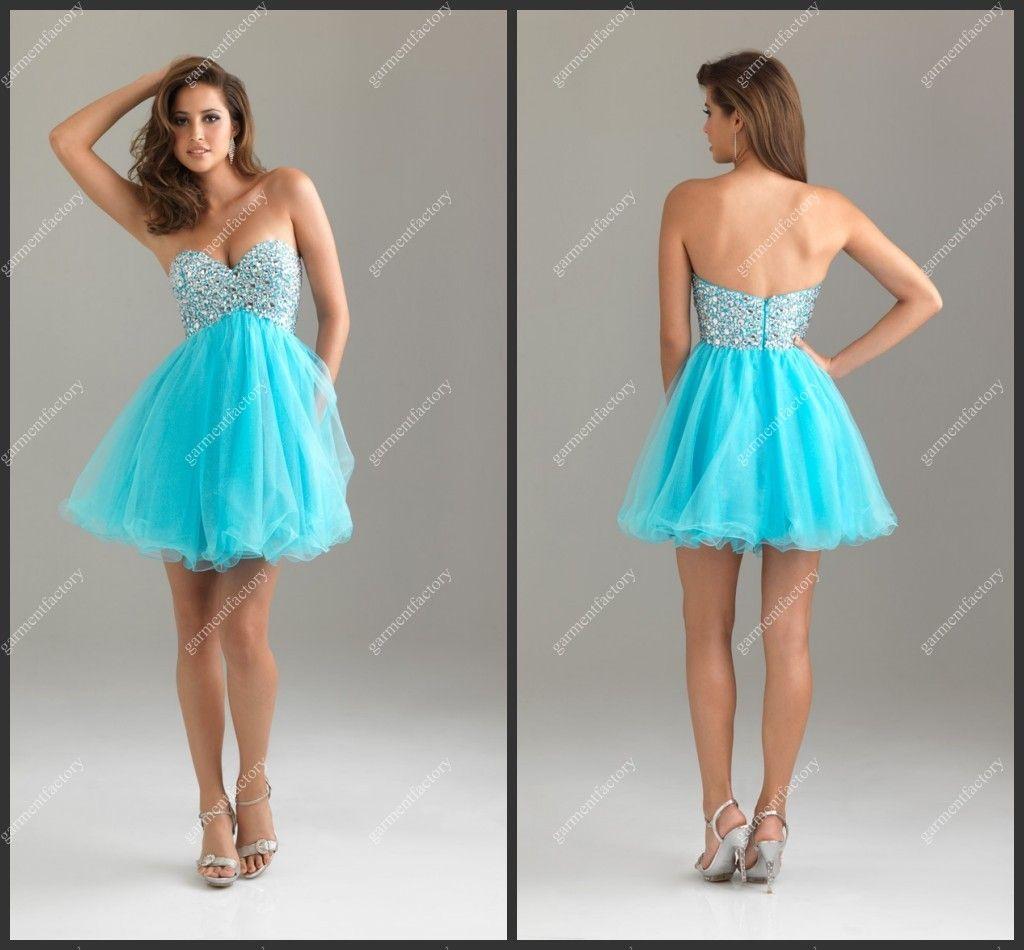 Cute Girls Homecoming Dress Sweetheart Neckline Above Knee Blue ...