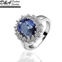 South American Women's Wedding New Fashion Jewelry 18K White Gold Plated Blue Gemstone CZ Crystal Wedding Rings Free Shipping JZ027