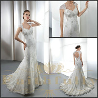 Wholesale A Line Wedding Dresses Cap Sleeves Peach Heart Back Lace Satin Beads Appliques Ruffle Demetrios