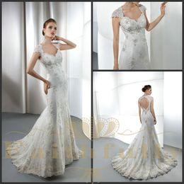 Wholesale A Line Wedding Dresses Cap Sleeves Peach Heart Back Lace Satin Beads Appliques Ruffle Demetrios
