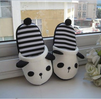 Wholesale Animal Panda Women Plush Fluffy Winter Warm Indoor Novelty Slipper Shoes