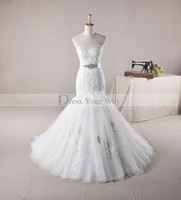 Wholesale USA New Wedding Dress Strapelss Mermaid Lace Appliques Crystal Bridal Gown AH1305