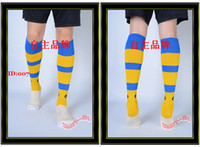 Wholesale Elite Socks Men Football Socks Yellow Blue Strips Soccer Sock Sox Hosiery Sport Stockings Tiebao