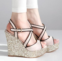 Bright Glorious Light Pink Silver Wedge Heels Cross Strappy ...