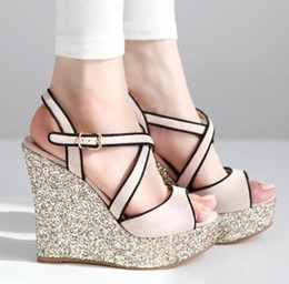 Wholesale Bright Glorious Light Pink Silver Wedge Heels Cross Strappy Sandals Cheap Trendy High Heels Shoes