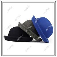 Wholesale S5Q Vintage Style New Women s Men s Roll Brim Bowler Derby Hats Colors AAABDJ