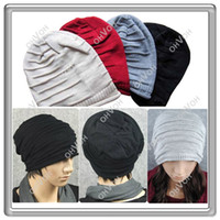 Wholesale S5Q Fashion Hip Hop Men s Knit Beanie Slouch Loose Baggy Style Ski Snow board Hat cap AAABDG