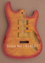 Wholesale high quality flame maple veneer top strat guitar body for sale