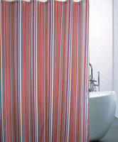 Wholesale Red Stripe Polyester Fabric printed shower curtain