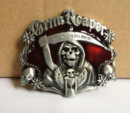Skull belt buckle with red enamel with pewter finish SW-122 5pcs lot free shipping