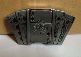 Playing card belt buckle with kerosene lighter with pewter finish SW-123 brand new condition 5pcs lo