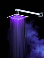 Wholesale 8 quot Chromed Brass Square Bathroom LED Rainfall Shower Head