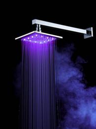 Wholesale 8 quot Chromed Brass Square Bathroom LED Rainfall Shower Head Faucet fg119