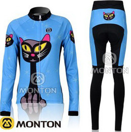 WOMEN'S WINTER FLEECE THERMAL LONG CYCLING WEAR +PANTS BIKE CLOTHES 2012 BLUE CAT PICK SIZE:XS-XXL