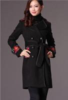 Wholesale Winter Fashion Coats Q12993 Exquisite embroidery lapel slim wool blend women s outwear