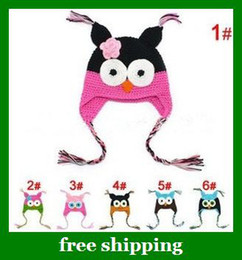 Wholesale Lovely handmade Baby OWL Hats Spring Crochet Kids Hand Crochet Beanie Christmas gifts
