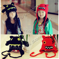Wholesale Handmade Knitted Children s Hats Happy Ghost Hat Baby Winter Crochet Beanies Kids Earflap Animal Cap