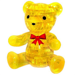 Christmas Gifts! Teddy Bear Creative Crystal Puzzle 3D Stereo   Puzzle  3D Puzzle & Free shipping