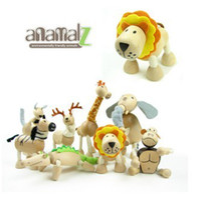 Wholesale ANAMALZ Toys Moveable Wooden Toys Zoo Animals Dolls Maple Wood Textiles Toys For Kids