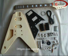 left handed Flying-V guitar mahogany body unfinished guitar body with All parts HOT SALE
