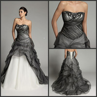 Wholesale Christmas Strapless Black White Color Accented Bridal Gowns Pleat Beads Sequin Wedding prom dresses
