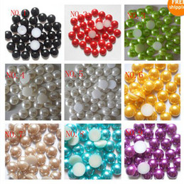 Wholesale 10000pcs mm Half Pearl Bead Flat Back mm Scrapbook Craft Jewelry U Pick Color adorn