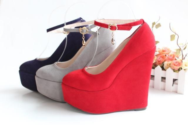 Size3 12 Suede Ankle Strap High Platform Wedges Shoes High Heels