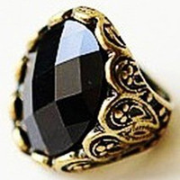 worldwide Women's Party Antique feeling engraving black precious stone style RING Ring ring Vintage fashon Rings rings!