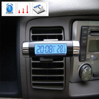 Wholesale LCD screen blue back light mini car auto thermometer calendar digital clock time and date