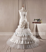 Cheap Trumpet/Mermaid tier mermaid wedding gown Best Model Pictures Portrait backless bridal dress