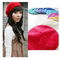 Wholesale Fashion Wool Warm Women Felt French Beret Beanie Hat Cap Tam Hot colors