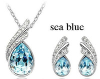 Wholesale Freeshipping Jewelry Set Austrian crystal necklace Piaoye to leaf gorgeous crystal earring