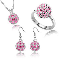 Wholesale spherical Austrian crystal jewelry set prettily earrings necklace ring