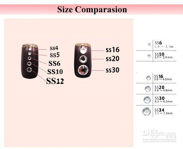 Размер страз на ногтях