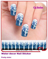 Wholesale C5 Blue Series sheets Water decals Nail Art Stickers Full Cover Nail tips sti