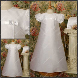 Wholesale Taffeta Babies First Communion Dress Ankle Length Taffeta Short Sleeve Christening Gown with Bowknot