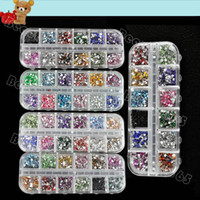 Wholesale 3000pcs box Mix Color Teardrop Nail Art Decoration Nail Rhinestones Deco Glitters Gems