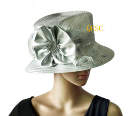 Wholesale Metallic silver All Year Around Church Formal Hat Dress Hat with Rhinestones Band up brim