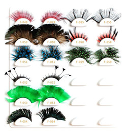 Wholesale 2012 Christmas Colorful Fake Eyelash Natural Curl Feather Eyelash False Eyelashes Crazy Eye Lashes