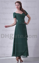 Wholesale 2013 Column Mother Of The Bride Dresses Beaded Ankle Length Short Sleeve BY043