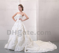 Model Pictures silver wedding dresses - 2012 Dhgate Hot Sale Strapless Silver Embriodery Taffeta Pleat Ruffles A Line Wedding Dresses DH0022