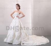 silver wedding dresses - 2012 Dhgate Hot Sale Strapless Silver Embriodery Taffeta Pleat Ruffles A Line Wedding Dresses DH0022